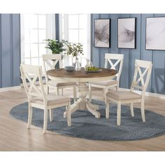 White Dining Room Sets, Round Dining Table Sets, Round Table And Chairs, Kitchen Table Chairs, Farmhouse Kitchen Tables, Dining Room Bar, Table And Chair Sets, Dining Chairs, Country Farmhouse
