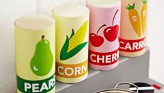 Play Food for a Kids' Play Kitchen... Brought to you by Lowe's Creative Ideas.    Stock a kids' play kitchen with fun food you can make in a flash. All you need is a dowel and our free printable labels.