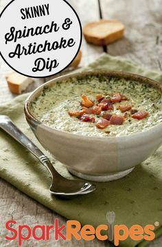 World's Best Spinach and Artichoke Dip. I decided to make this recipe for a game night with the girls. I served it with carrots and celery sticks and everyone loved it, they could hardly believe it was so good for them.| via @SparkPeople #recipe #partyfood #artichokedip