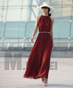Mulheres de varejo de moda Bolinhas Maxi Longo Casual Beach Party vestido chiffon, Big Size Mulheres Vestido de Verão, 2Colors US $11.89