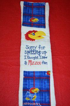 Kansas Jayhawk Burp Cloth by AlmostAsSweet on Etsy