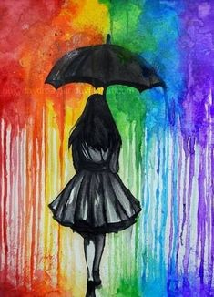 in The Rain Melted crayon art is a great aftermath. Hiking in The Rain Melted crayon art is a great aftermath. Hiking in The Rain Melted crayon art is a great aftermath. Umbrella Art, Umbrella Painting, Black Umbrella, Melting Crayons, Crayons Fondus, Rainbow Art, Rainbow Colors, Rainbow Drawing, Rainbow Magic