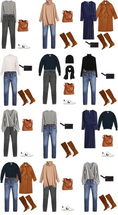 Capsule Outfits, Capsule Wardrobe, Travel Outfits, Work Wardrobe, Holiday Packing Lists, Winter Packing, Winter Travel, Summer Travel, Holiday Outfits