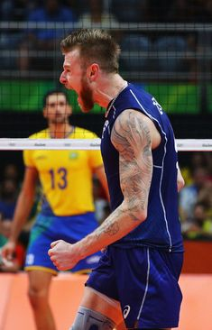 Ivan Zaytsev of Italy reacts during the Men's Gold Medal Match between Italy and Brazil on Day 16 of the Rio 2016 Olympic Games at Maracanazinho on August 21 2016 in Rio de Janeiro Brazil. Volleyball Training, Volleyball Workouts, Volleyball Quotes, Coaching Volleyball, Volleyball Gifts, Girls Softball, Volleyball Players, Brazil Volleyball, Girls Basketball