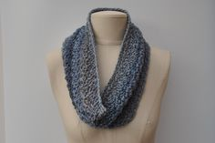 Crocheted cowl in a blue/grey mix by DaisyElizaDesigns on Etsy