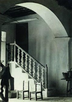 great wiggly shapes in the banister - like the flat silhouette idea ...   RAOUL HAUSMANN (1886-1971)  PORTE D'ENTREE D'UNE MAISON RURALE,   CA'N MARIANO RAFAL, 1934