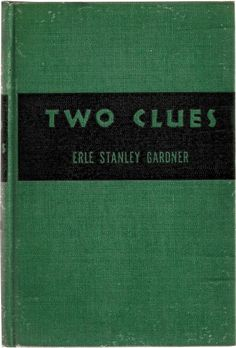 Two Clues - Gardner - Vintage Teal Turquoise Black Decor Mid Century Book 1940's $8.00