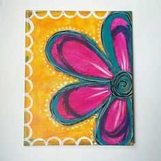 """Pink Abstract Flower Painting - 8"""" x 10"""" on canvas board - $24.99"""