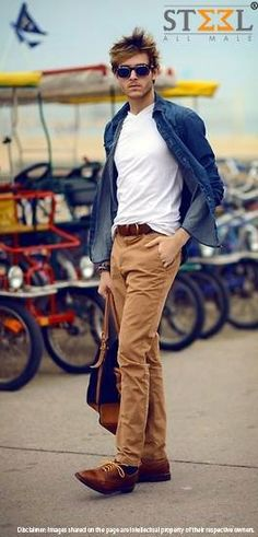 Denim #shirt paired with white v-neck tee, #khakhi #pants & brown #shoes together makes a great combination.   Do you agree ?