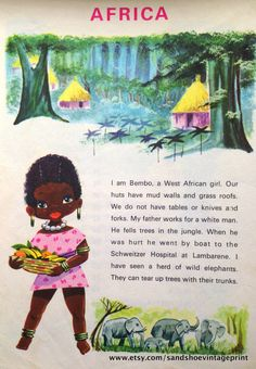 1960s AFRICA BUNDLE of 2 Lithograph PRINTS Ideal for Framing or Scrapbooking by sandshoevintageprint on Etsy
