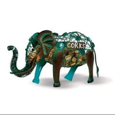 Elephant Cork Caddy Cork Holder By Picnic Plus Displays And Stores Wine Corks Over 54 Wine Corks Wine Bottle Corks, Bottle Stoppers, Christmas Elephant, Wine Cork Holder, Electric Wine Opener, Wall Mounted Bottle Opener, Stainless Steel Bar, Wine Decor, Blue And Copper