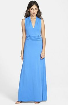 Vince Camuto Cutaway Shoulder Shirred Waist Jersey Maxi Dress (Regular & Petite) available at #Nordstrom