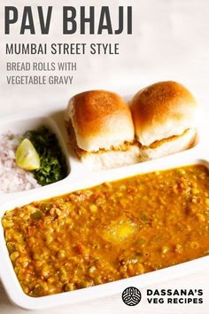 Is Indian street food calling your name? This Mumbai vegetarian favorite is made with spiced, mashed veggies in an onion-tomato gravy and served with pav which is a bread roll. Veg Recipes, Lunch Recipes, Indian Food Recipes, Vegetarian Recipes, Dinner Recipes, Ethnic Recipes, Mumbai Street Food, Indian Street Food, Healthy Indian Snacks