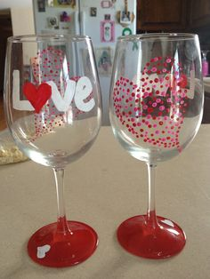Valentines Day Themed Wine Glasses on Etsy, $16.00