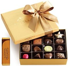 Godiva Chocolatiere Gold Ballatin Classic Gold Ribon 19 pc box with Milk Chocolate Bar and Godiva bag