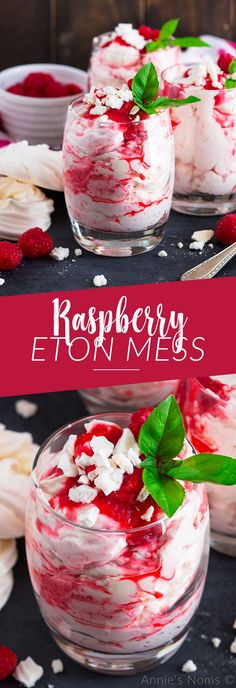 Raspberry Eton Mess is a twist on the classic. No bake, individually sized and ready in 5 minutes, these are the perfect make ahead Summer dessert for the whole family. #etonmess #recipe #summerrecipe #summer #raspberries #nobake