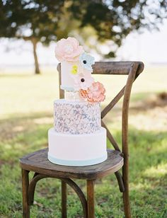 Pastel & floral print cake with sugar flowers - Sugar Bee Sweets Bakery  Ben Q Photography