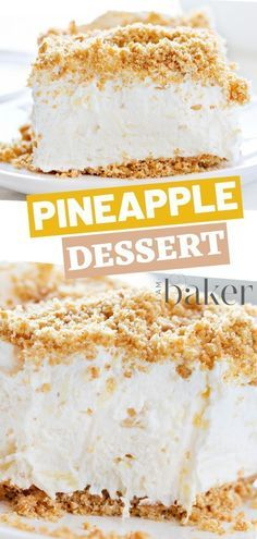 This NO BAKE Pineapple dessert is not your average dessert. This is one of my fa… This NO BAKE Pineapple dessert is not your average dessert. This is one of my favorite dessert and one of the easiest thing to do. Save and try this later! Pineapple Dessert Recipes, Quick Dessert Recipes, Easy No Bake Desserts, Fancy Desserts, Homemade Desserts, Italian Desserts, Easter Desserts, Baked Pineapple, Pineapple Squares