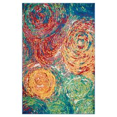 Painterly and vibrant, this eye-catching loomed rug evokes captivating works of abstract art in your living room or den.   Product: ...