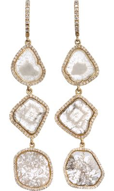 Monique Péan Diamond Sliced & Pave Set Diamond Three-Tier Earrings