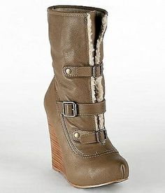 So cute! Tan beige leather ankle boot with a stacked wedge heel, sheep skin, and three buckles. Wear with pants, jeans, a skirt or dress for fall, winter and spring 2013 - 2014 ♥ Get this look at @SPARKTREND, click the image to see! #boots #booties #shoes #womens #fashion #wedges