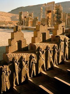 Photo: Relief sculpture on the walls of Persepolis, Iran