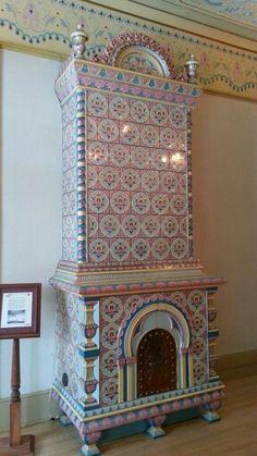 Enamel tiled stove American Swedish Institute of Minneapolis Minnesota