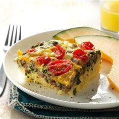 """Beef, Potato & Egg """"Barn Raiser"""" Bake - To keep my family going all morning, I start with lean ground beef, eggs and potatoes -- then sneak some spinach into this protein-packed breakfast recipe.   TheFitFork.com"""