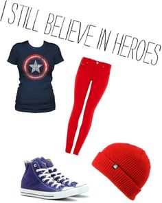 """""""Captain 'merica"""" by amhartburg ❤ liked on Polyvore"""