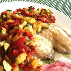 Browned Butter Flounder with Zucchini and Sun-dried Tomatoes