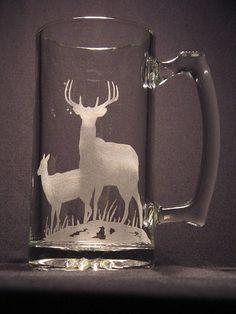 One wildlife engraved glass Deer design beer mug Glass Etching, Etched Glass, Sandblasted Glass, Deer Design, Glass Engraving, Glass Beer Mugs, Painted Wine Glasses, Engraved Gifts, Vinyl Crafts