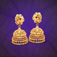 22K Gold Jhumka from GRT, GRT Jewellers Jhumka Designs, Gold Jhumka Designs.