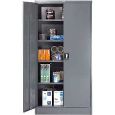 """Storage Cabinet Recessed Handle 36""""W x 18""""D x 72""""H Gray Easy Assembly $199"""