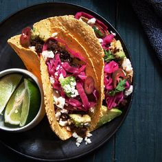chorizo tacos with pickled red cabbage