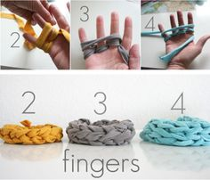 Finger knit bracelets... have finger knit before, but I never thought of doing bracelets.