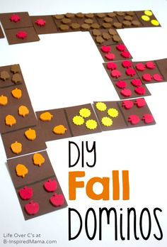 Make this simple kids game for some fall themed learning and play. #kids #learning #homeschool #math #fall Math Games For Kids, Autumn Activities For Kids, Fall Preschool, Kids Learning Activities, Fun Learning, Crafts For Kids, Kids Math, Counting Activities, Learning Centers
