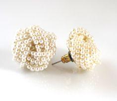 Pearl EarringsPearl Knot Earrings Post by TashaHusseyJewelry, $28.00
