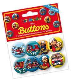 8 Mini Button * Feuerwehr * mit Anstecknadel vom Lutz Mauder Verlag // 67229 // Kinder Geburtstag Mitgebsel Geschenk Party Buttons Set Feuerwehrmann Feuerwehrauto von Mauder, http://www.amazon.de/dp/B00BN5T9D0/ref=cm_sw_r_pi_dp_fH9esb1MXWJA1