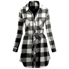 Hot From Hollywood White & Black Plaid Shirt Dress ($15) ❤ liked on Polyvore featuring tie belt