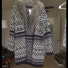 HOST PIC Long sweater jacket/coat Detachable fur. Thick and warm. Buttons down the front. Says size 0 but it fits like a s/m. Recently became a HP! Chico's Jackets & Coats