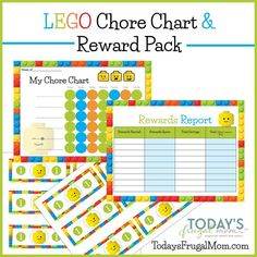 Could the Lego fans in your house use some motivation for their chores? If so, this free Lego Chore Chart & Reward Pack is just the thing they need! :: todaysfrugalmom.com