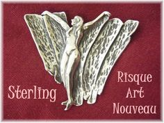 Risque  Art Nouveau Sterling Silver Nude Dancer Brooch by FindMeTreasures, $99.00