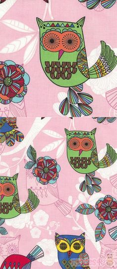 pink cotton fabric with colorful owls, Material: cotton, Fabric Type: smooth cotton fabric, Pattern Size: size of the green owl: ca. Owl Fabric, Pink Fabric, Cotton Fabric, Kawaii, Modes4u, Owl Bird, Fabric Patterns, Colorful Owl, Patterns