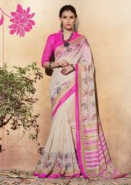 Casual Wear Pink Silk Printed Saree