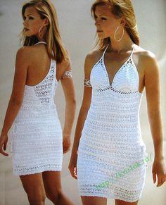 Crochet white summer dress ♥LCD-MRS♥ with diagram. --- Crochetemoda: Vestido Branco de Crochet