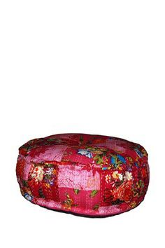 Flower Patchwork Round Cotton Floor Cushion - Pink