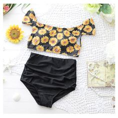 2015 Newest Swimwear Women Sunflower Printed Push Up High Waist Bikini Hot Sale Summer Sexy Brazilian Style Bikinis