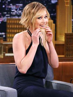 Jennifer Lawrence hair extensions Jimmy Fallon