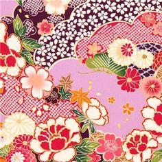 fliederfarbener Kokka japanische Blumen Stoff mit Gold 1