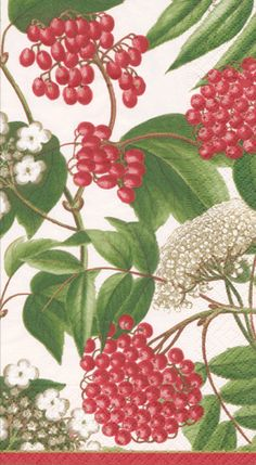 Caspari Berry Chintz ivory Fruits and Floral 3-Ply Paper Guest Towels Wholesale 12060G